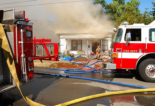 Attack and Backup lines in front of a Single family dwelling on fire